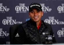 Golf - British Open - practice round - Royal Troon, Scotland, Britain - 11/07/2016.   Jason Day of Australia smiles during a news conference.  REUTERS/Paul Childs