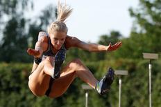 Athletics - Russian track and field championship - Women's long jump - Cheboksary, Russia, 21/6/16. Darya Klishina during an attempt. REUTERS/Sergei Karpukhin