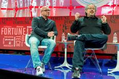 Rony Abovitz (R), CEO of Magic Leap speaks as Brian Wallace, CMO of Magic Leap listens during the Fortune Brainstorm Tech conference in Aspen, Colorado, U.S. in this handout photo released to Reuters July 12, 2016.  Stuart Isett/Fortune Brainstorm TECH/Handout via Reuters