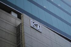 El logo de la compañía de construcción mexicana ICA en Ciudad de México, 8 de marzo de 2016. REUTERS/Edgard Garrido