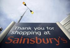 A sign is displayed at a Sainsbury's store in London, Britain April 30, 2016. Photograph taken April 30, 2016.  REUTERS/Neil Hall