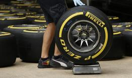 Britain Formula One - F1 - British Grand Prix 2016 - Silverstone, England - 7/7/16 General view of Pirelli tyres Action Images via Reuters / Andrew Boyers Livepic EDITORIAL USE ONLY. - RTX2K599
