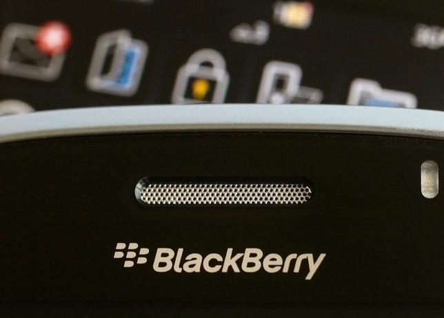 A Blackberry smartphone is displayed in this August 12, 2010 illustrative photo. REUTERS/Bobby Yip/File Photo