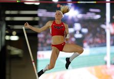 Sandi Morris of the U.S. competes in the women's pole vault event at the IAAF World Indoor Athletics Championships in Portland, Oregon March 17, 2016. REUTERS/Mike Blake