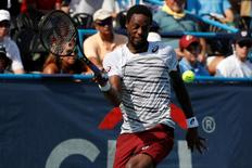 Jul 24, 2016; Washington, DC, USA; Gael Monfils of France hits forehand against Ivo Karlovic of Croatia (not pictured) in the men's singles final of the Citi Open at Rock Creek Park Tennis Center. Monfils won 5-7, 7-6(6), 6-4. Mandatory Credit: Geoff Burke-USA TODAY Sports