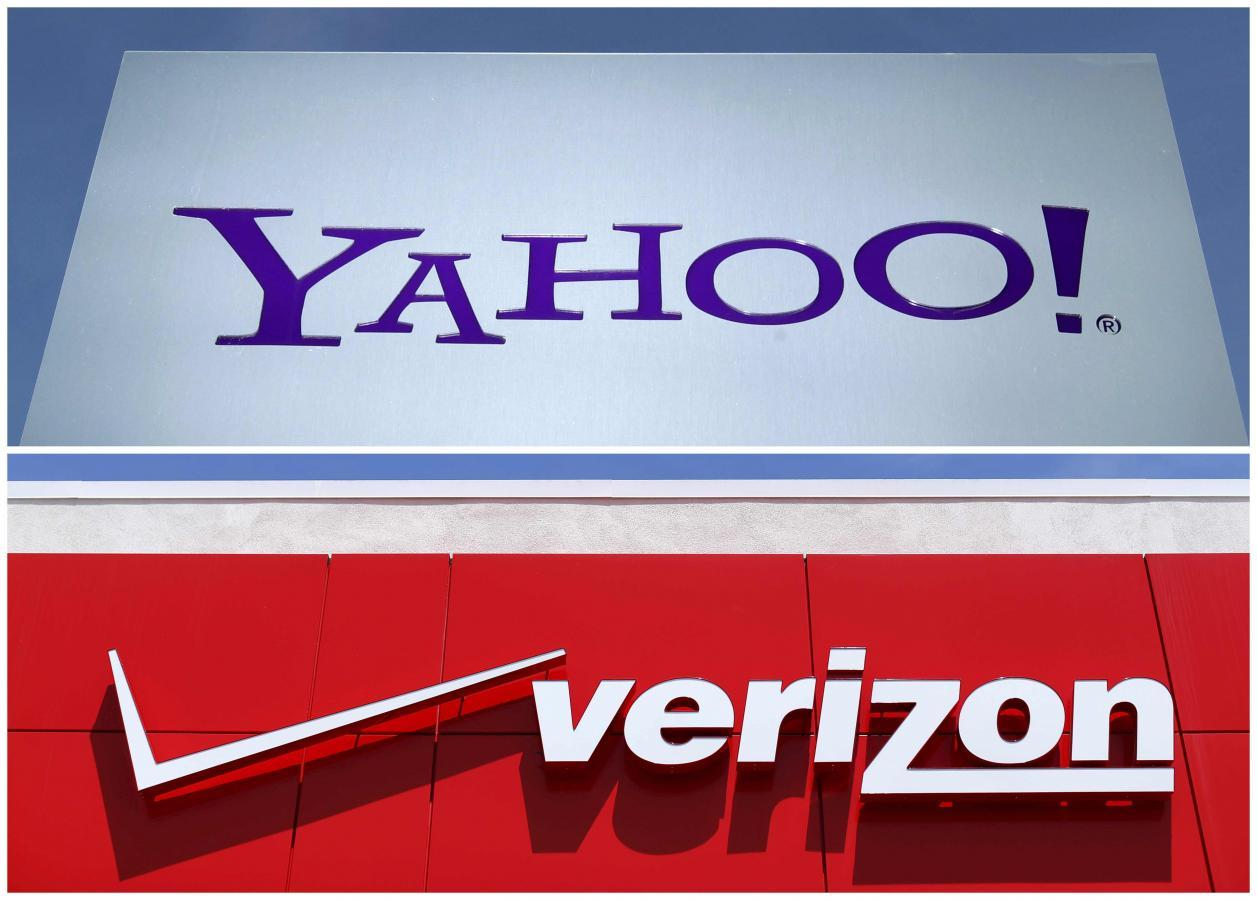Verizon sale leaves yahoo investors betting on a stub a combination photo shows yahoo logo in rolle switzerland top in 2012 and a verizon sign at a retail store in san diego california us in 2016 biocorpaavc Image collections