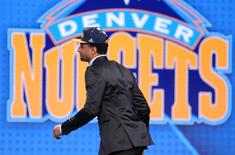 Jun 23, 2016; New York, NY, USA; Jamal Murray (Kentucky)  walks on stage after being selected as the number seven overall pick to the Denver Nuggets in the first round of the 2016 NBA Draft at Barclays Center. Mandatory Credit: Brad Penner-USA TODAY Sports