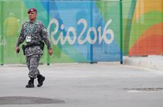 Jul 29, 2016; Rio de Janeiro, BRAZIL; Brazilian military patrol inside the Olympic Park prior to the start of the Rio 2016 Olympic Games. Rob Schumacher-USA TODAY Sports