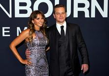 """Luciana Barroso and actor Matt Damon arrive for the Universal Pictures movie premiere of """"Jason Bourne"""" at Caesars Palace hotel-casino in Las Vegas, Nevada, U.S., July 18, 2016.  REUTERS/L.E. Baskow"""