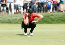Jul 29, 2016; Springfield, NJ, USA; Danny Willett measures a putt on the 14th hole during the second round of the 2016 PGA Championship golf tournament at Baltusrol GC - Lower Course. Mandatory Credit: Brian Spurlock-USA TODAY Sports
