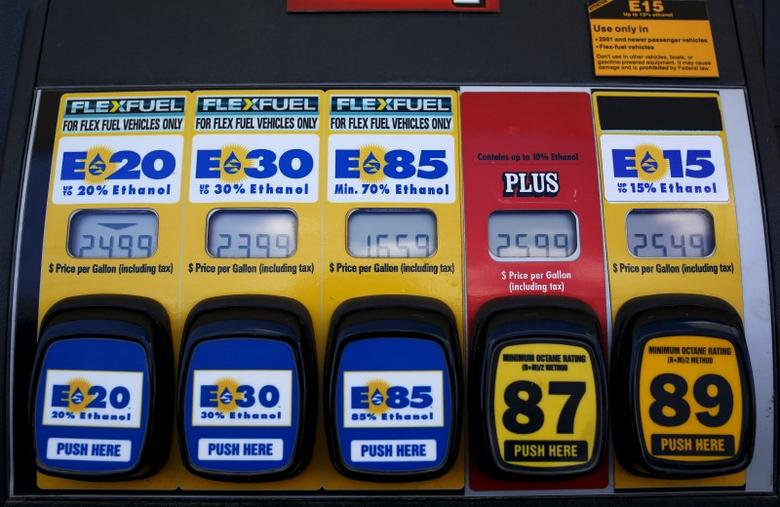 A gas pump displays the price for E15, a gasoline with 15 percent of ethanol, and various other ethanol blends at a gas station in Nevada, Iowa, United States, May 17, 2015.  REUTERS/Jim Young