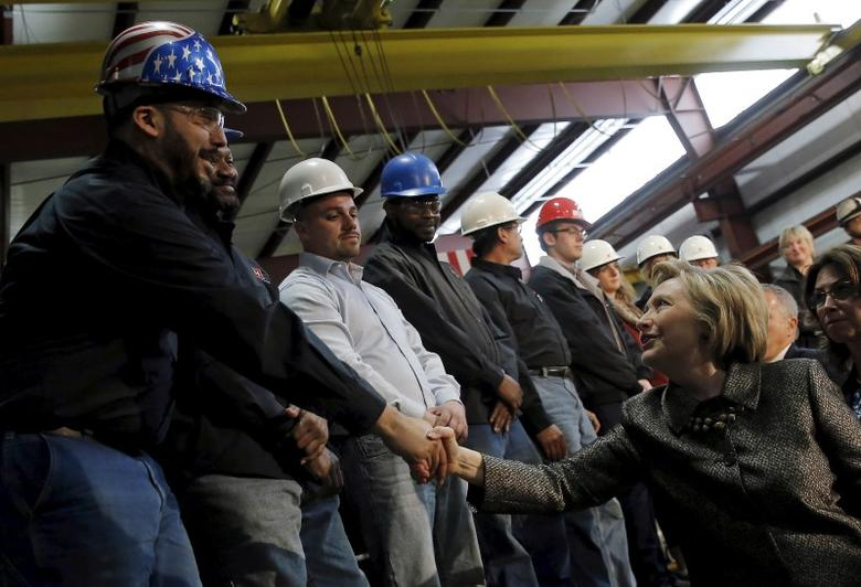 Hillary Clinton greets workers at Munster Steel in Hammond, Indiana, United States, April 26, 2016. REUTERS/Jim Young