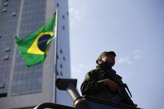 2016 Rio Olympics - Copacabana - 29/07/2016. Soldier in Copacabana.        REUTERS/Ivan Alvarado