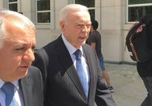 Former Brazilian soccer chief Jose Maria Marin (C), a defendent in the FIFA bribery case, is seen outside the Brooklyn federal court in New York, U.S. August 3, 2016.  REUTERS/Nate Raymond