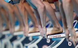 Jun 29, 2016; Omaha, NE, USA; View of Omega logo on a starting block during heat 7 during the men's 100 meter freestyle in the U.S. Olympic swimming team trials at CenturyLink Center. Mandatory Credit: Rob Schumacher-USA TODAY Sports