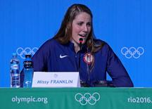 USA swimmer Missy Franklin speaks during a press conference at the MPC Samba Room prior to the 2016 Rio Olympic Games. Mandatory Credit: Peter Casey-USA TODAY Sports