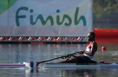 2016 Rio Olympics - Rowing - Preliminary - Men's Single Sculls Heats - Lagoa Stadium - Rio De Janeiro, Brazil - 06/08/2016. Fournier Rodriguez (CUB) of Cuba competes. REUTERS/Carlos Barria