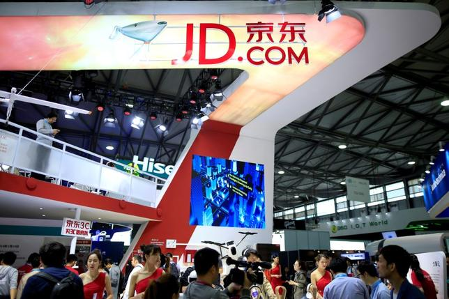 A sign of China's e-commerce company JD.com is seen at CES (Consumer Electronics Show) Asia 2016 in Shanghai, China, May 12, 2016. REUTERS/Aly Song/File Photo -