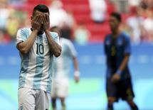 Argentino Angel Correa lamenta em jogo contra Honduras.  10/08/2016.  REUTERS/Ueslei Marcelino
