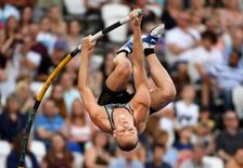 Jul 22, 2016; London, United Kingdom; Sam Kendricks (USA) places second in the pole vault at 19-1 1/2 (5.83m) in the London Anniversary Games during an IAAF Diamond League meet at Olympic Stadium. Mandatory Credit: Kirby Lee-USA TODAY Sports