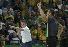 Técnico do Brasil Rubén Magnano. 13/08/2016 REUTERS/Jim Young