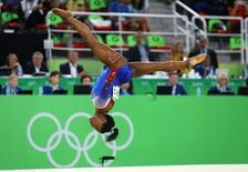 Ginasta norte-americana Simone Biles ganha quarta medalha de ouro na Rio 2016 com apresentação no solo 16/08/2016. REUTERS/Mike Blake
