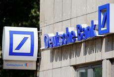 A logo of a branch of Germany's Deutsche Bank is seen in Cologne, Germany, July 18, 2016.  REUTERS/Wolfgang Rattay