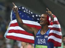 2016 Rio Olympics - Athletics - Final - Men's Decathlon 1500m - Olympic Stadium - Rio de Janeiro, Brazil - 18/08/2016. Ashton Eaton (USA) of USA celebrates winning the gold medal.  REUTERS/Alessandro Bianchi