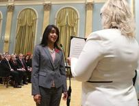 Canada's new Small Business and Tourism Minister Bardish Chagger is sworn-in during a ceremony at Rideau Hall in Ottawa November 4, 2015. REUTERS/Chris Wattie