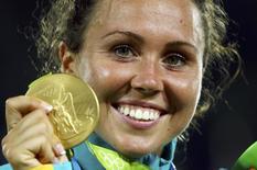 2016 Rio Olympics - Modern Pentathlon - Victory Ceremony - Women's Victory Ceremony - Deodoro Stadium - Rio de Janeiro, Brazil - 19/08/2016. Gold medalist Chloe Esposito (AUS) of Australia reacts. REUTERS/Jeremy Lee