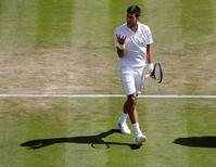 Britain Tennis - Wimbledon - All England Lawn Tennis & Croquet Club, Wimbledon, England - 2/7/16 Serbia's Novak Djokovic celebrates during his match against USA's Sam Querrey REUTERS/Stefan Wermuth