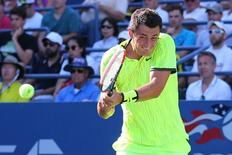 Aug 30, 2016; New York, NY, USA; Bernard Tomic of Australia returns a shot to Damir Dzumhur of Bosnia and Herzegovina (not pictured) on day two of the 2016 U.S. Open tennis tournament at USTA Billie Jean King National Tennis Center. Mandatory Credit: Anthony Gruppuso-USA TODAY Sports