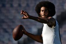San Francisco 49ers quarterback Colin Kaepernick (7) throws a pass before the game against the San Diego Chargers at Qualcomm Stadium. Mandatory Credit: Jake Roth-USA TODAY Sports