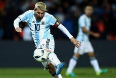 Messi durante jogo contra Uruguai.  01/09/16. REUTERS/Marcos Brindicci