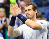 Sept 3, 2016; New York, NY, USA;      Andy Murray of Great Britain after beating Paolo Lorenzi of Italy on day six of the 2016 U.S. Open tennis tournament at USTA Billie Jean King National Tennis Center. Mandatory Credit: Robert Deutsch-USA TODAY Sports