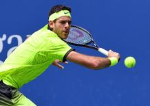 5, 2016; New York, NY, USA;   Juan Martin del Potro of Argentina hits to Dominic Thiem of Austria on day eight of the 2016 U.S. Open tennis tournament at USTA Billie Jean King National Tennis Center. Mandatory Credit: Robert Deutsch-USA TODAY Sports