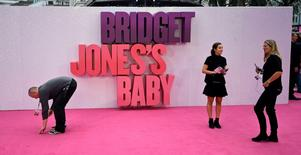 "Staff members prepare the venue for the world premiere of ""Bridget Jones's Baby"" at Leicester Square in London, Britain September 5, 2016. REUTERS/Dylan Martinez"