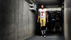 Sep 1, 2016; San Diego, CA, USA; San Francisco 49ers quarterback Colin Kaepernick (7) walks into the tunnel after the game against the San Diego Chargers at Qualcomm Stadium. San Francisco won 31-21. Mandatory Credit: Orlando Ramirez-USA TODAY Sports