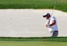 Jun 18, 2016; Oakmont, PA, USA; Marc Leishman hits from a bunker on the 8th hole during the third round of the U.S. Open golf tournament at Oakmont Country Club. Mandatory Credit: Kyle Terada-USA TODAY Sports
