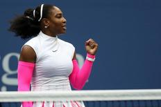 Sep 5, 2016; New York, NY, USA; Serena Williams of the United States celebrates after winning match point against Yarolslava Shvedova of Kazakhstan (not pictured) on day eight of the 2016 U.S. Open tennis tournament at USTA Billie Jean King National Tennis Center. Williams won 6-2, 6-3. Mandatory Credit: Geoff Burke-USA TODAY Sports