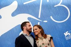 """Director Pablo Larrain (L) poses with actress Natalie Portman as they attend the photocall for the movie """"Jackie"""" at the 73rd Venice Film Festival in Venice, Italy September 7, 2016.  REUTERS/Alessandro Bianchi"""