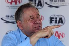 """FIA President Jean Todt speaks to the media at a news conference in the race track """"Los Brasiles"""" in Managua, Nicaragua, August 10, 2016.  REUTERS/Oswaldo Rivas"""