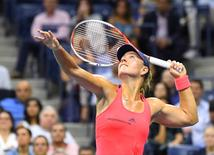Sept 8, 2016; New York, NY, USA; Angelique Kerber of Germany plays against Caroline Wozniacki of Denmark on day eleven of the 2016 U.S. Open tennis tournament at USTA Billie Jean King National Tennis Center. Mandatory Credit: Robert Deutsch-USA TODAY Sports