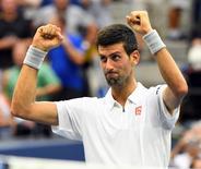 Sept 9, 2016; New York, NY, USA; Novak Djokovic of Serbia after beating Gael Monfils of France on day twelve of the 2016 U.S. Open tennis tournament at USTA Billie Jean King National Tennis Center. Robert Deutsch-USA TODAY Sports
