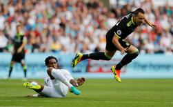 Swansea City's Leroy Fer in action with Chelsea's John Terry. Swansea City v Chelsea - Premier League - Liberty Stadium - 11/9/16. Action Images via Reuters / Carl Recine Livepic