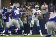 Sep 11, 2016; Arlington, TX, USA; Dallas Cowboys quarterback Dak Prescott (4) throws a pass in the fourth quarter against the New York Giants at AT&T Stadium. New York won 20-19. Mandatory Credit: Tim Heitman-USA TODAY Sports