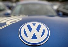 """The logo of a Volkswagen Beetle car is seen at the """"Sunshinetour 2016"""" in Travemuende at the Baltic Sea, August 20, 2016.  REUTERS/Fabian Bimmer/File Photo"""