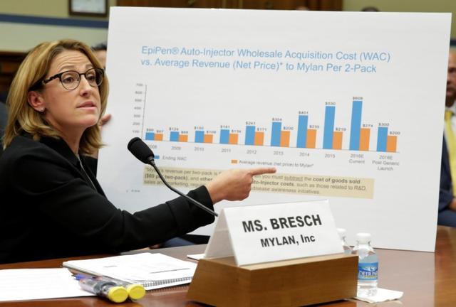 U S  lawmakers blast Mylan CEO over 'sickening' EpiPen price