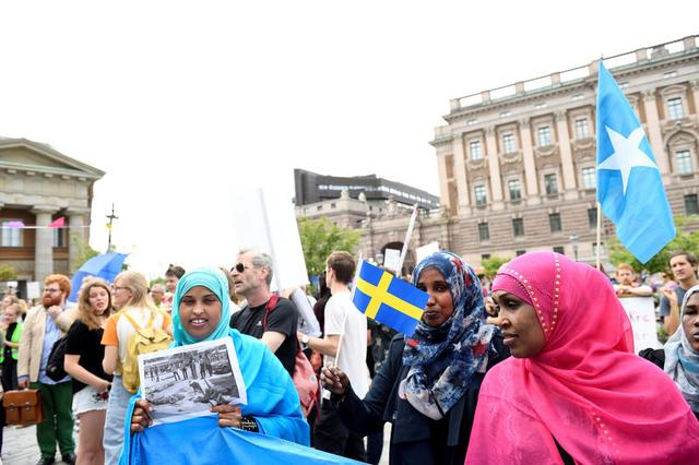 Protesters in front of Sweden's parliament in Stockholm June 21, 2016.  TT News Agency/Henrik Montgomery/via REUTERS/File Photo