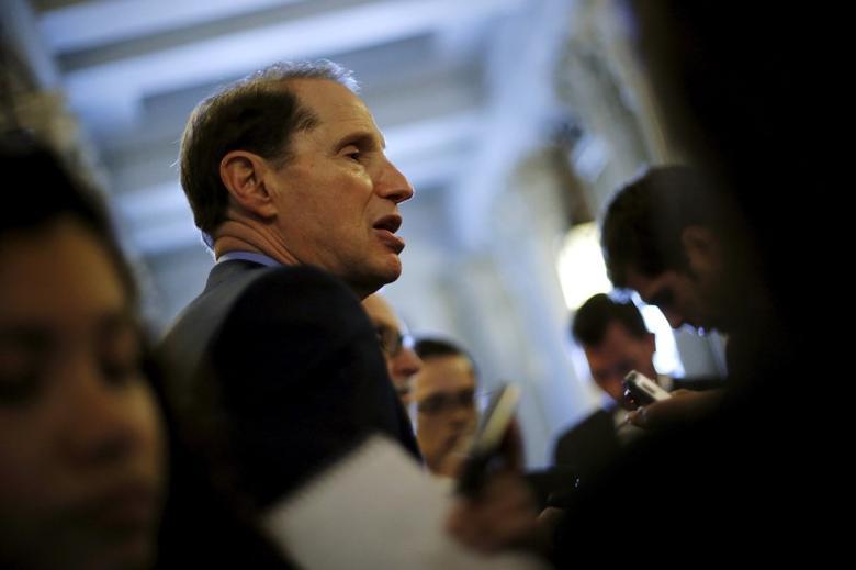 Senator Ron Wyden speaks with reporters.  REUTERS/Jonathan Ernst